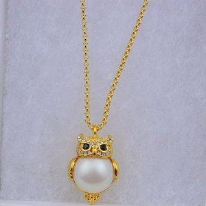 Kate Spade Zircon 3D Pearl Owl Necklace